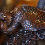 A rare and exceptional Meiji period hardwood exhibition display cabinet detail
