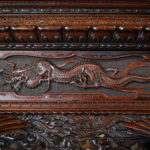 A rare and exceptional Meiji period hardwood exhibition display cabinet carvings