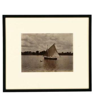 A rare framed Albumen print of a dinghy with 3 gentleman sailing off the coast of Jamaica. Att to John Valentine main