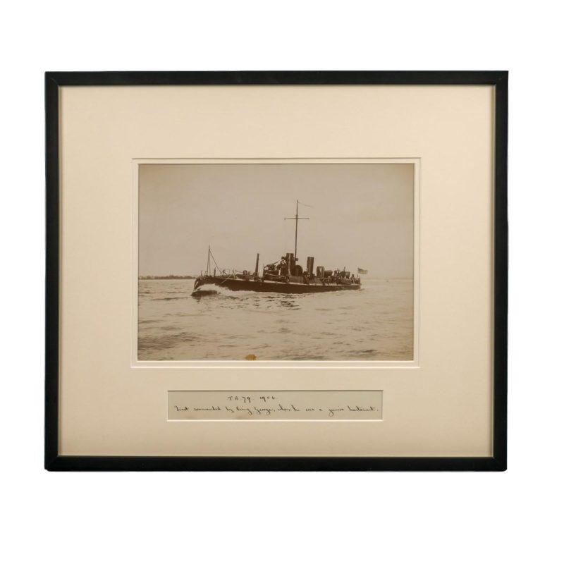 Rare framed albumen photograph of the Royal Navy Torpedo boat No 79