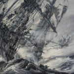 'A Galleon in Distress' by Montague Dawson detail