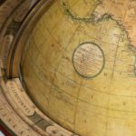 A pair of Cary's 15-inch table globes map details cary