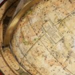 A pair of Cary's 15-inch table globes map detail