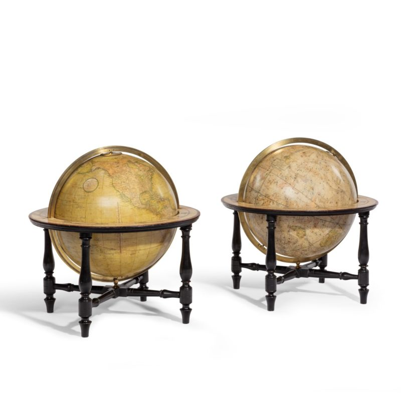 A pair of Cary's 15-inch table globes