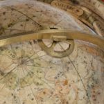 A pair of Cary's 15-inch table globes closeup top view