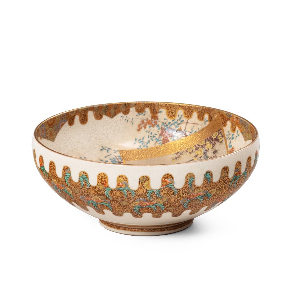 A Meiji period Satsuma earthenware bowl