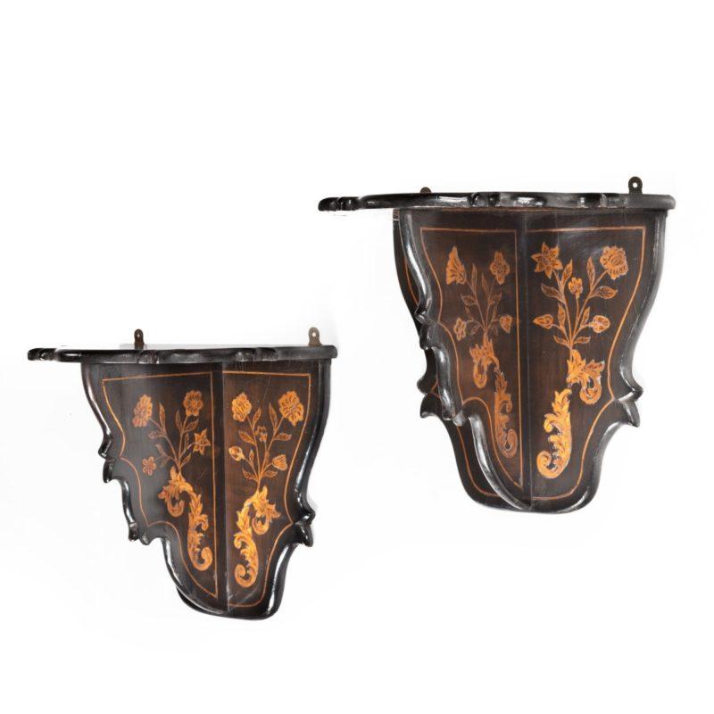 A pair of Dutch marquetry wall brackets