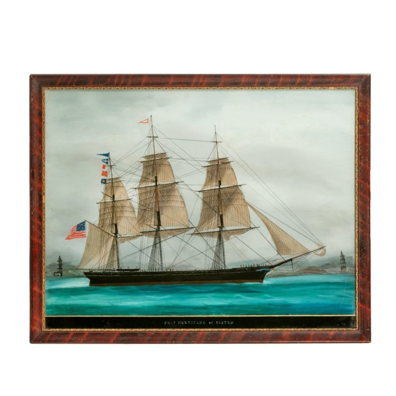 An American reverse-glass painting of the ship 'Hurricane' of Boston