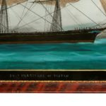 An American reverse-glass painting of the ship 'Hurricane' of Boston detail
