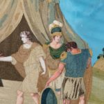An unusual pair of Italian silk embroidery and gouache painted paper pictures details