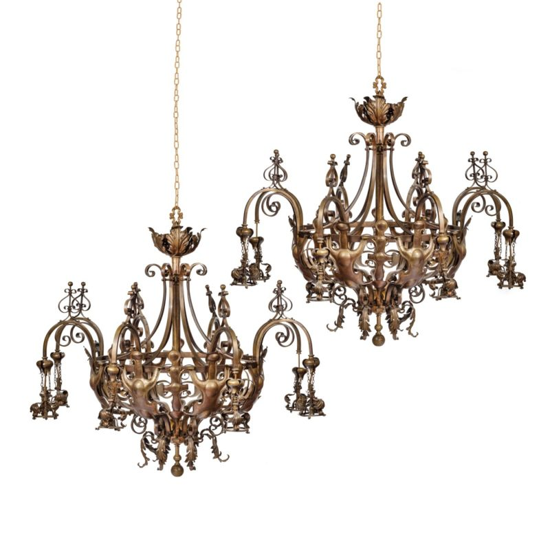 A pair of large Victorian 8-light brass chandeliers