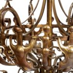 A pair of large Victorian 8-light brass chandeliers details