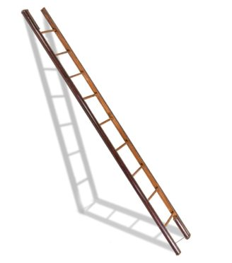 A late Victorian wooden library pole ladder by Taylor main