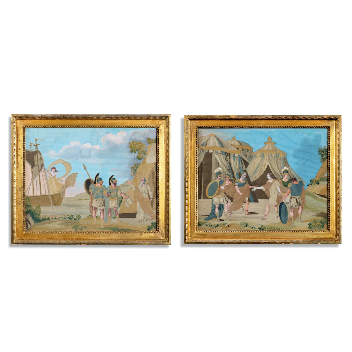 An unusual pair of Italian silk embroidery and gouache painted pictures