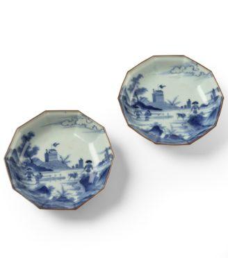 A pair of Edo period 'Scheveningen' design Arita export dishes