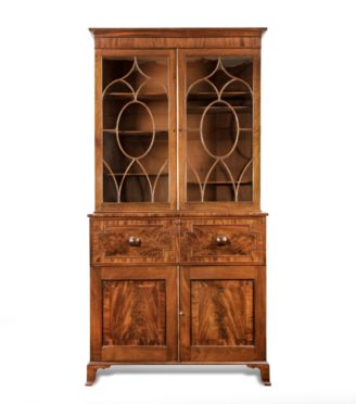 A late George III mahogany secretaire bookcase attributed to Gillows,