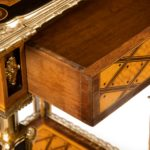 A matched pair of satinwood tables after Donald Ross, retailed by Edwards and Roberts drawers detail