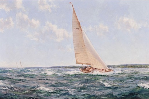 Montague Dawson: 'Down Solent' showing 'Cohoe', the 1950 Transatlantic Race winning yacht of K. Adlard Coles