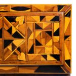 A Jamaican marquetry tea caddy in Caribbean woods by Ralph Turnbull top detail