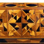 A Jamaican marquetry tea caddy in Caribbean woods by Ralph Turnbull detail