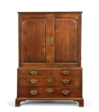 A George II mahogany linen press, English, circa 1770.