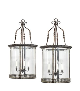 A pair of 20th century brass hanging lanterns in the style of Lutyens