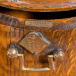 A Victorian oak country house letterbox by Rodrigues close up