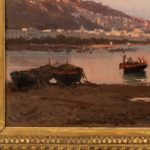 View of the Bay of Naples by Alessandro La Volpe, oil on relined canvas, signed & indistinctly dated 1877, in the original orientalist close up