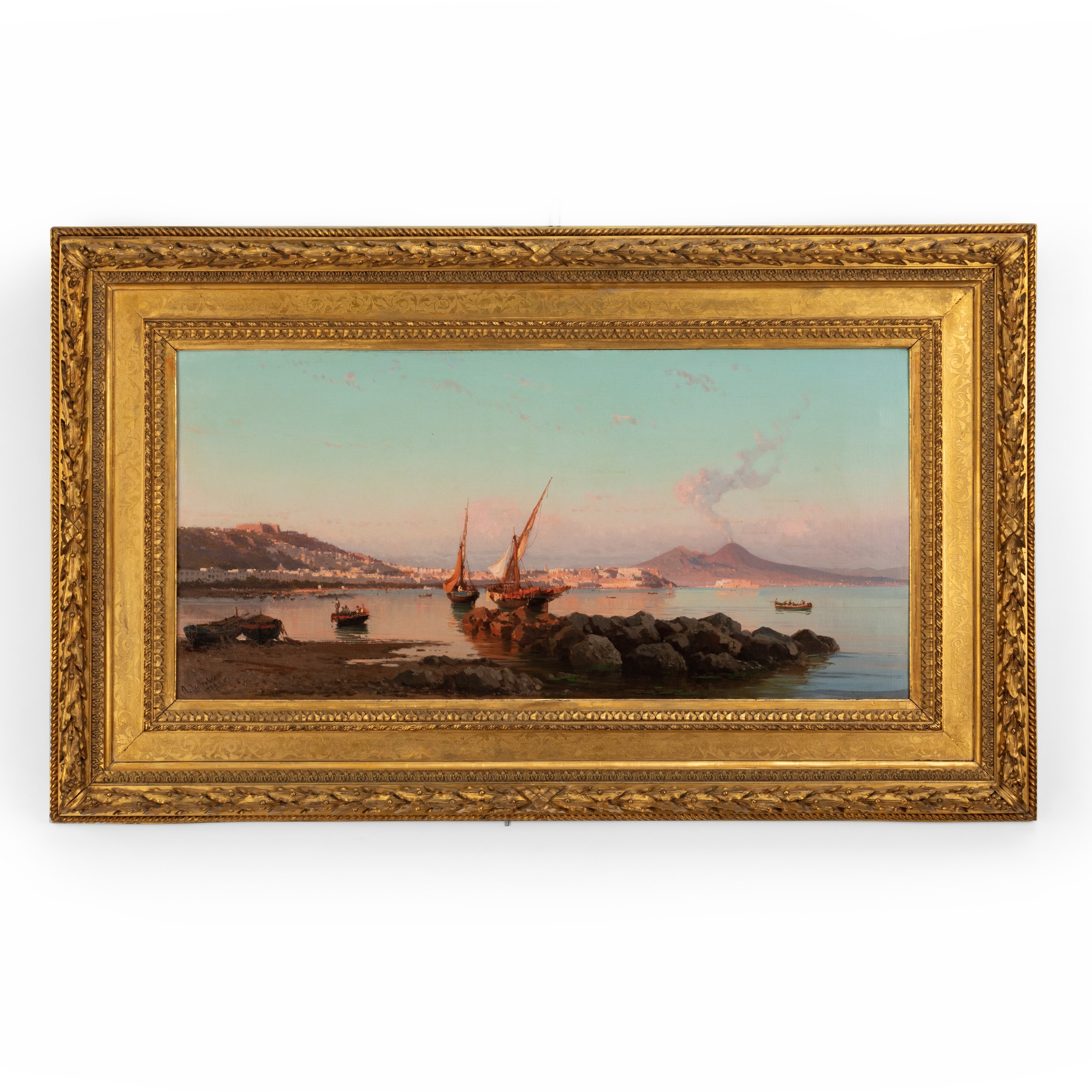 View of the Bay of Naples by Alessandro La Volpe, oil on relined canvas, signed & indistinctly dated 1877, in the original orientalist frame. Italian, 1877.