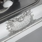 Captain Sir George Collier's presentation silver entree dishes and covers by Richard Cooke close up
