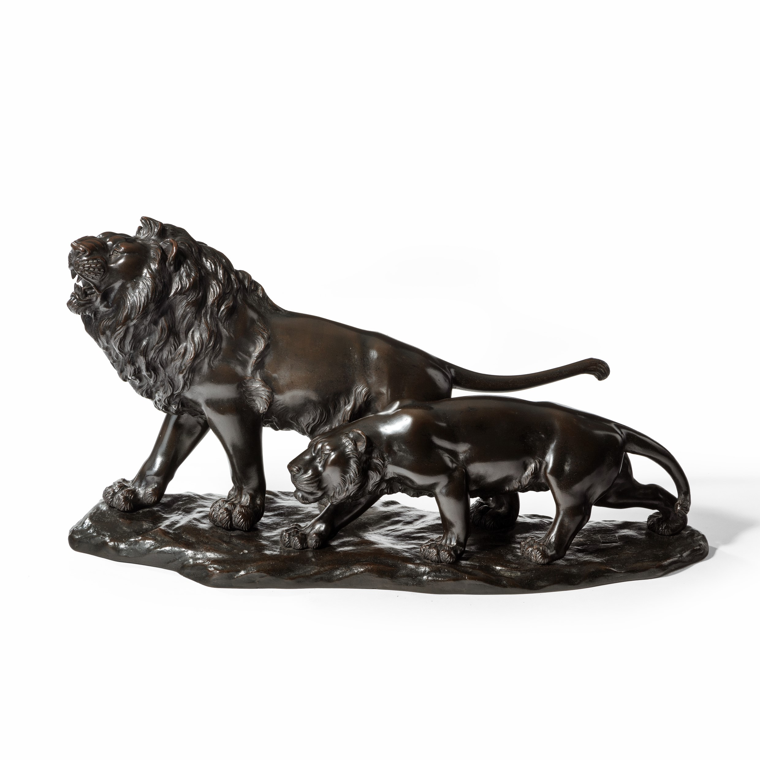 A Meiji period bronze study of a lion and lioness