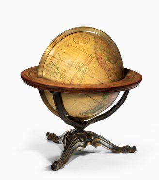 A 12 inch Franklin terrestrial table globe by Nims & Co, New York