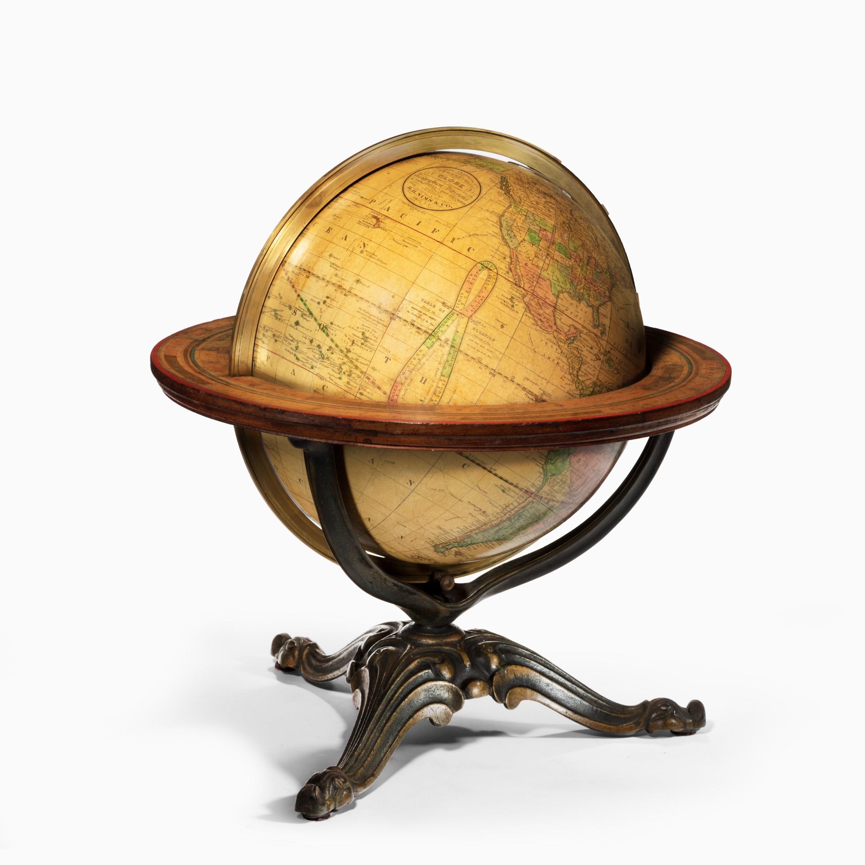 A 12 inch Franklin terrestrial table globe by Nims & Co, New York