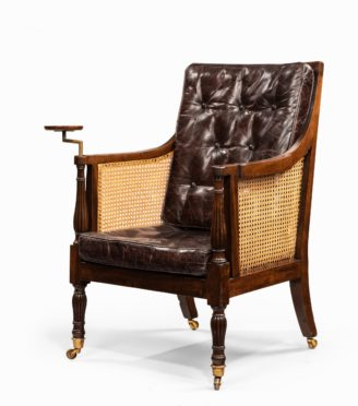A Regency mahogany Bergère chair