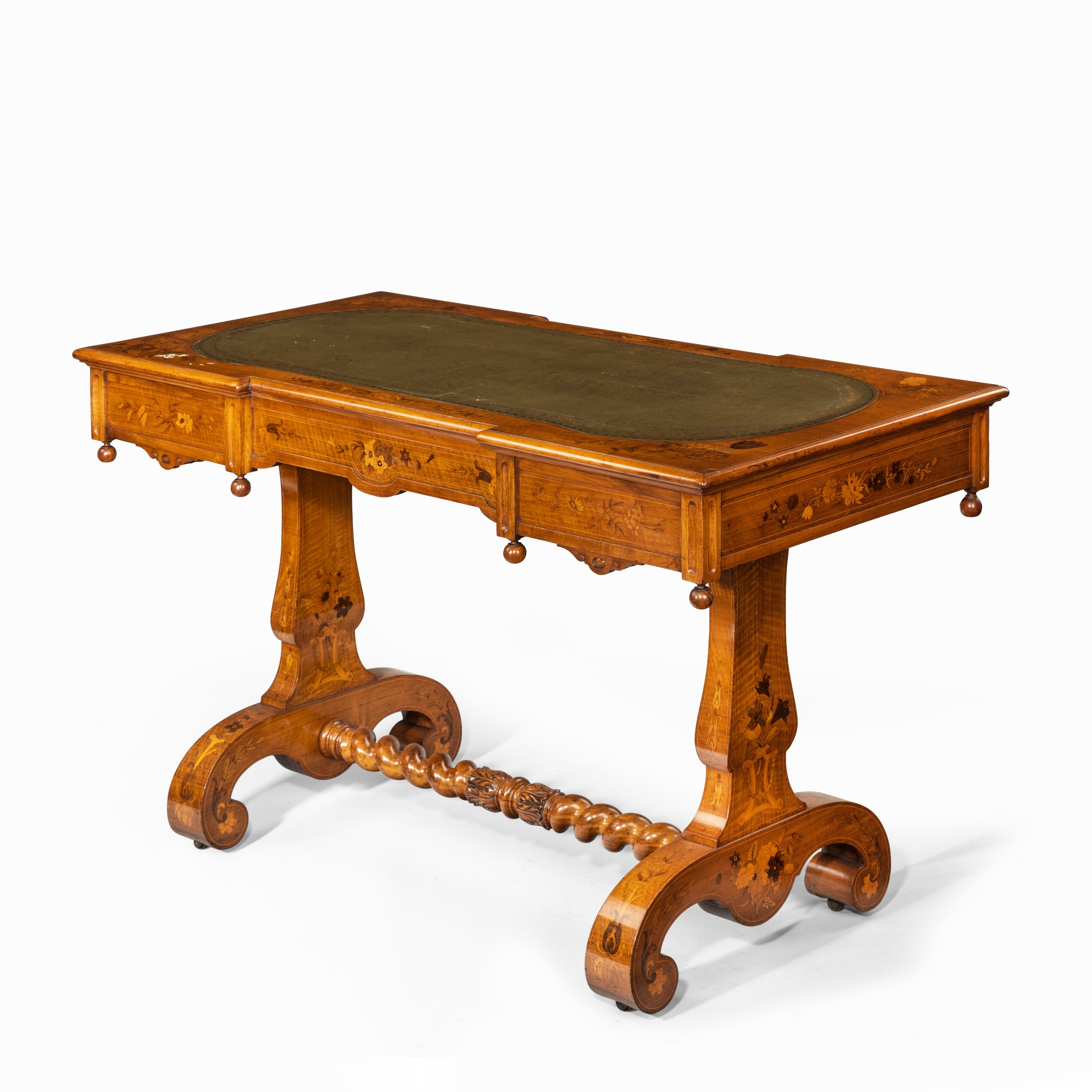 A Victorian walnut marquetry writing table