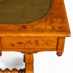 A Victorian walnut marquetry writing table detail
