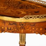 A French demi-lune rosewood bow and arrow table by Georges-François Alix detailing