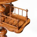 A Victorian walnut revolving book table detail
