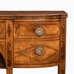 George III breakfront yew-wood inlaid sideboard drawers