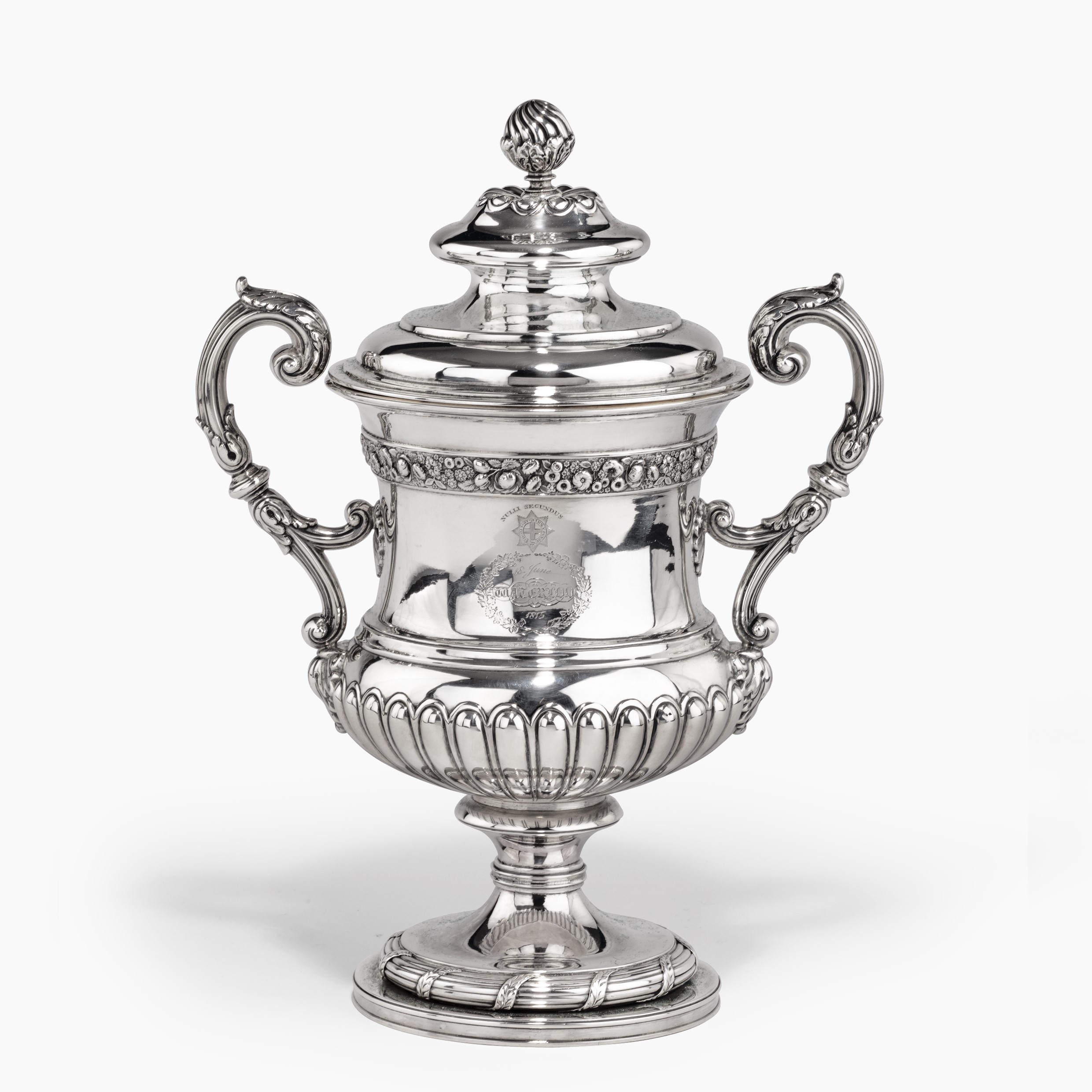 A George III antique silver Battle of Waterloo Commemorative cup and cover belonging to William Hunter, made by Mitchell & Russell, Edinburgh 1818