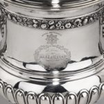 A George III antique silver Battle of Waterloo Commemorative cup and cover belonging to William Hunter, made by Mitchell & Russell crests