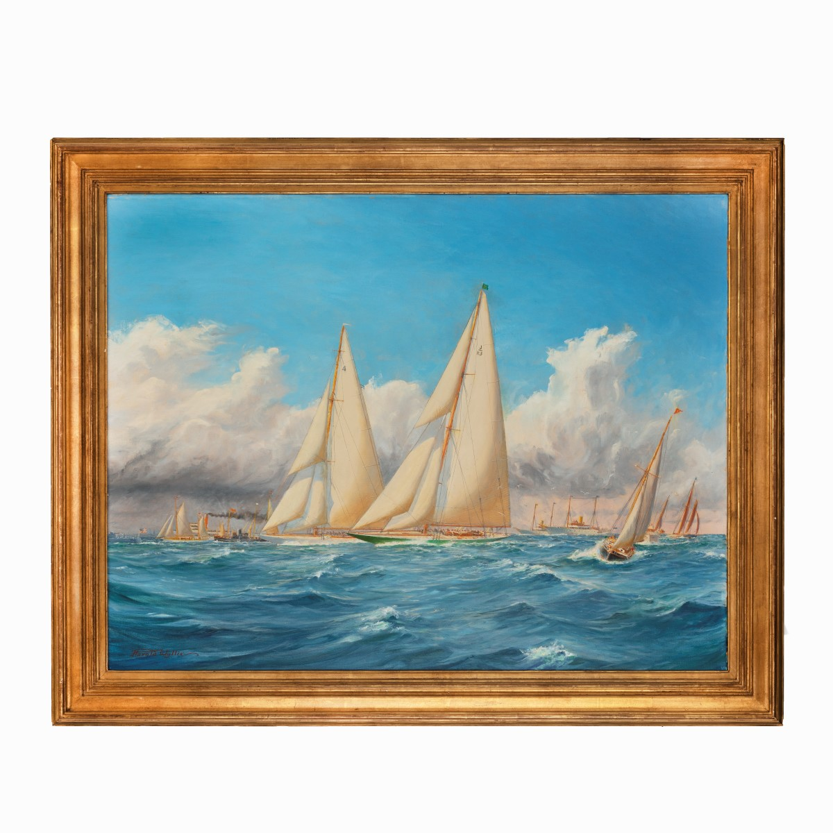 A rare painting by Harold Wyllie of 1930 America's Cup racing off Newport, Rhode Island, oil on canvase, signed 'Harold Wyllie', in a moulded gilt wood frame. English, circa 1930.