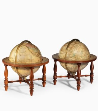 A pair of 12 inch table globes by Josiah Loring dated 1844 and 1841
