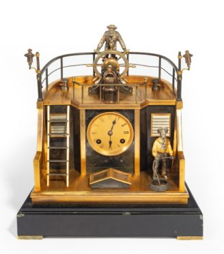 A late 19th century French gilt-brass and steel novelty 'quarterdeck' mantel clock main