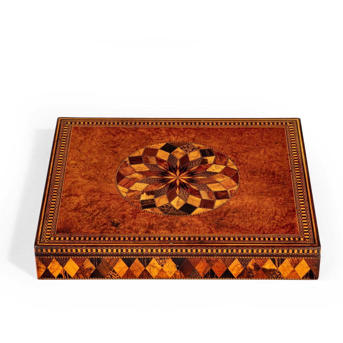 A Victorian Tunbridge-ware parquetry games box,