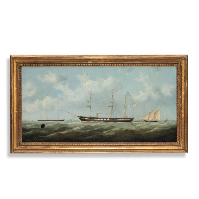 H.M.S. Topaze by George Mears, the three-masted frigate shown under steam with Royal Yacht Victoria and Albert II in the background on her bow, oil on canvas in a gilt wood frame. English, c 1860.