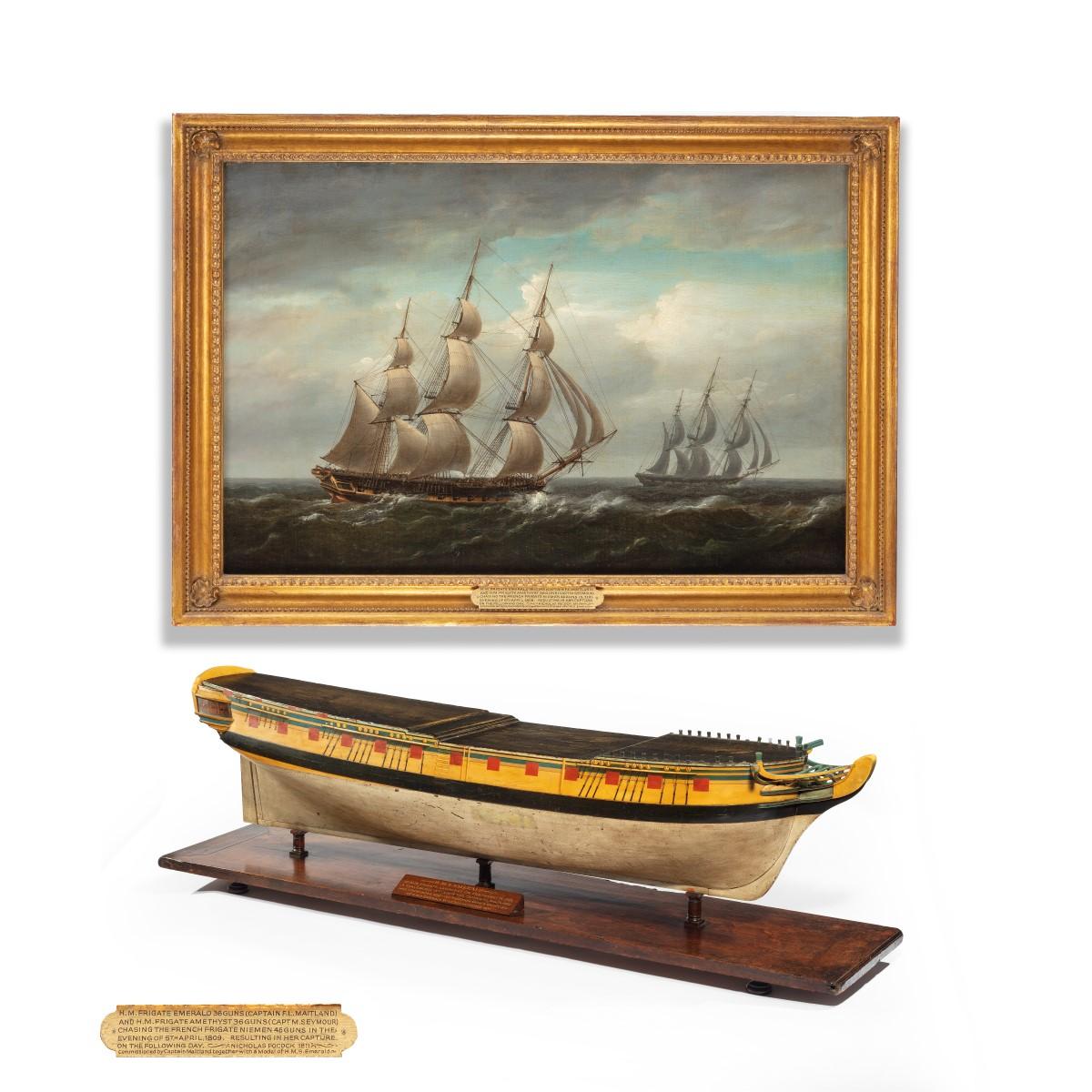 'HMS Emerald and HMS Amethyst' by Pocock