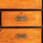 An Anglo-Chinese camphor and ebony campaign secretaire bookcase drawers