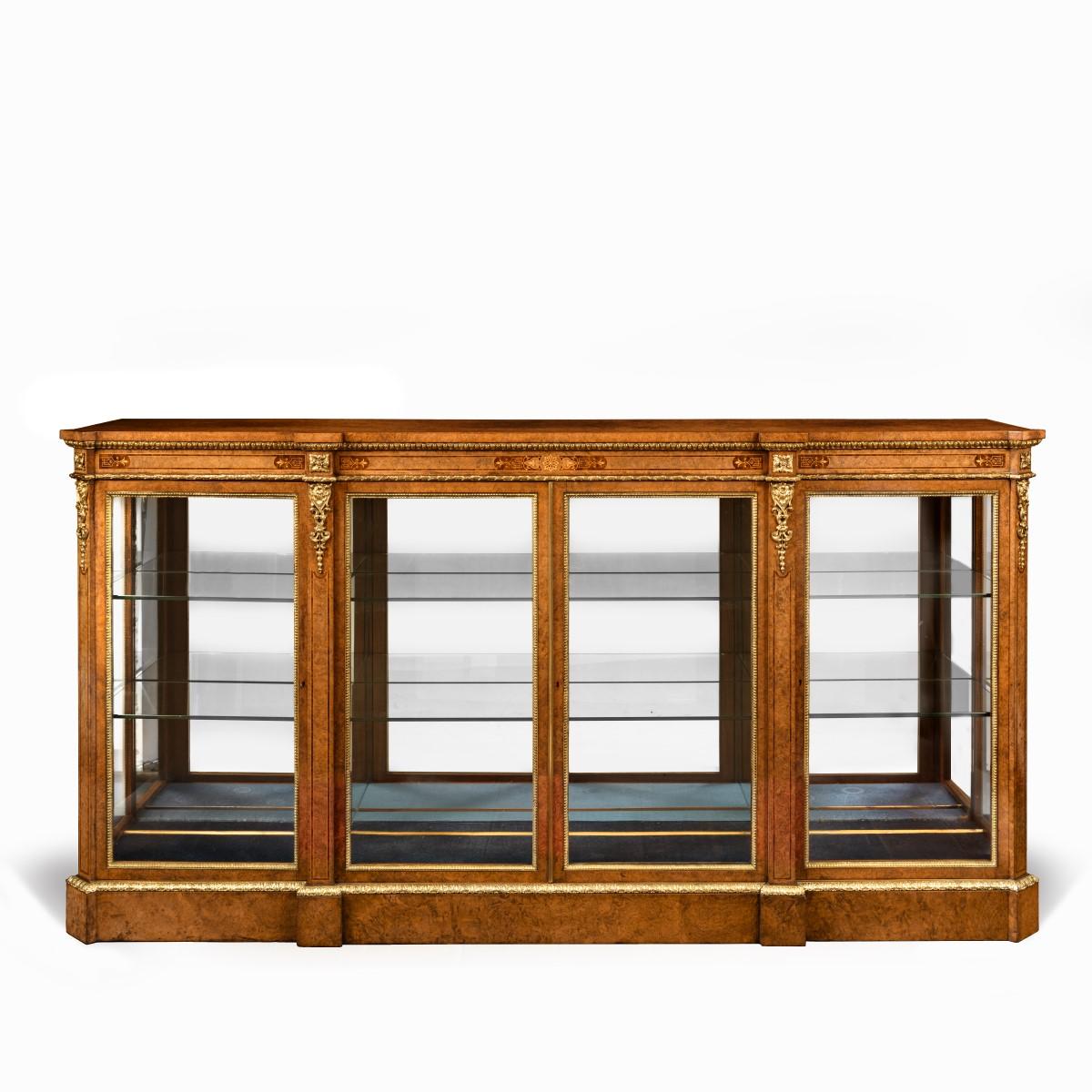 Mid Victorian burr walnut display cabinet