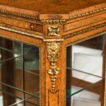 Mid Victorian burr walnut display cabinet detail